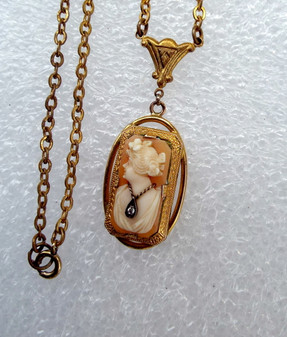 Antique Hand Carved Cameo Lavalier W/Diamond Necklace Gold Filled Intricate Detail