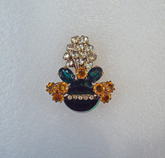 1940's RARE Fred A Block Basket Pin, Big Green Lucite Stone, Paste Stones, Flower Spray Brooch