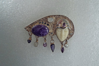 Vintage Sajen Moon Face Goddess Brooch Pendant Siberian Charoite, Amethyst, Moonstone, Pearl, Prasiolite 925 Sterling Silver