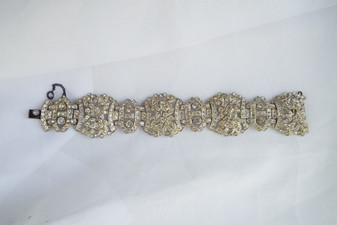 Stunning Art Deco Paste Stones Bracelet Wide Haute Couture 1930's Wedding Jewelry Fabulous!