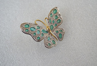 Nolan Miller Butterfly Pin Plique a Jour Style Aqua Pave Stones Glamour Collection Brooch