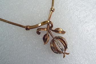 Rare Trifari Pomegranate Pendant Necklace Baguette Rhinestones With Snake Chain
