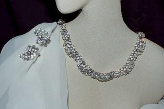 Spectacular Trifari Rhinestone Necklace Ear's Demi Parure 1950's Hollywood Glam Wedding Jewelry Set