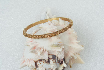 Crown Trifari Gold Nugget Bangle Slim Elegant Gold Plated Bracelet Nice!