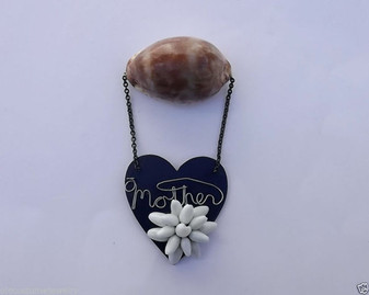 Antique MOTHER Pin DEEP Blue Celluloid HEART Huge SEA Shell HAND Wired Shells QQ
