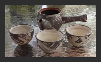 Vintage JAPANESE Sake Set Shigaraki-Yaki Stoneware SIGNED Flask ART POTTERY