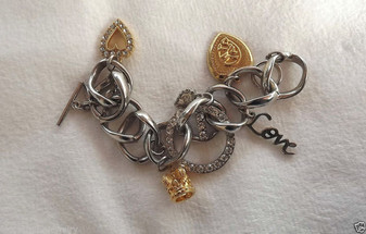 Retired GUESS Charm Bracelet HEARTS Theme BIG Rhinestone G VALENTINE's Day GIFT!