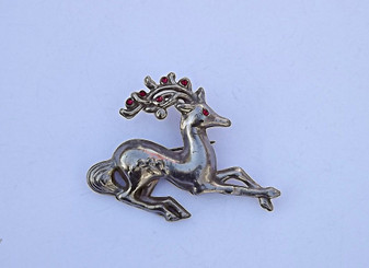 Vintage Reindeer Brooch 1940's Retro Collectible Christmas Pin Large 3 D Red Rhinestones Striking Design Old Costume Jewelry