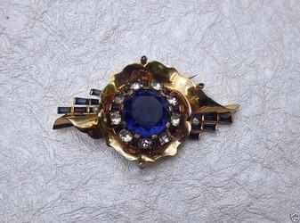 VTG 1940's MAZER PIN Big COBALT BLUE Stone RARE COBALT BLUE Baguette Rhinestones
