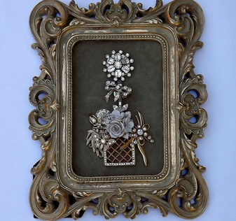 VINTAGE RHINESTONE JEWELRY FRAMED CHRISTMAS TREE  EASTER or HOLIDAY TOPIARY