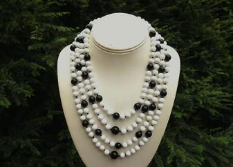 Vintage Monet Glass Beads Necklace, 4 Strands Statement Black & White Bib, Hand Knotted