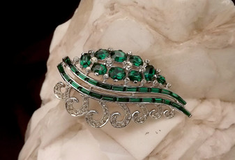 Art Deco MAZER Brooch Emerald Green Rhinestone Baguettes Channel Set Silver Rhodium Old Costume Jewelry