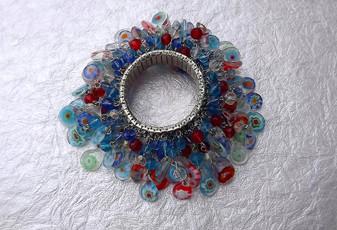 Vintage lampwork Millefiori Glass Beads Bracelet 100 + Dangling Beads Expansion