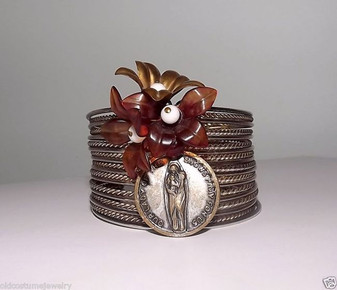VTG RELIGIOUS WIDE CUFF BRACELET~CELLULOID FLOWERS~OUR LADY of  SNOWS MEDAL