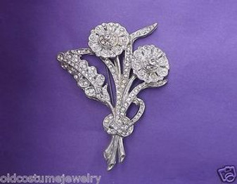 "VTG 1930's - 40's POT METAL  ART DECO RHINESTONE  PIN~HUGE FLOWER SPRAY~4"" LONG"
