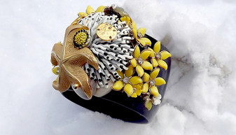 RUNWAY COUTURE WIDE BANGLE BRACELET Enamel Flowers SEA Anemone Ocean STARFISH