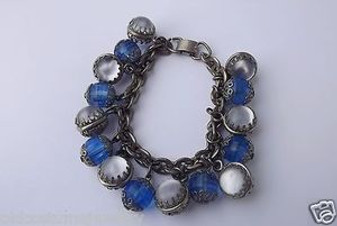 Rare 1950's Selro Charm Bracelet Satin Glow Glass Beads Baubles Lucite Too