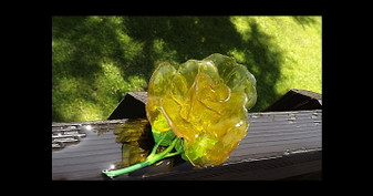 Huge Yellow Plastic Flower Brooch Vintage 3D Cellulose Acetate Rose Pin Enamel Leaves