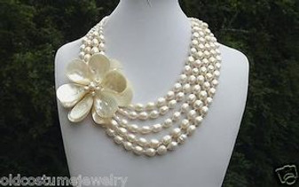HAUTE COUTURE 5 STRAND BAROQUE PEARL NECKLACE~HUGE HAND WIRED MOP SHELL FLOWER
