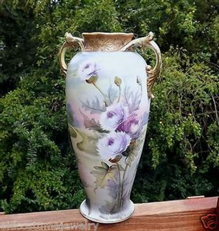 ANTIQUE NIPPON HAND PAINTED PORCELAIN VASE NIPPON FINEFIRED ON RAISED GOLD BEADING THISTLES