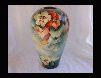 GORGEOUS ANTIQUE PORCELAIN HAND PAINTED PANSYS VASE~EXPERT PAINTING ~DATED 1907