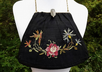 EDWARDIAN SILK & TAMBOUR EMBROIDERY PURSE by TRINITY~JEWELED & EMBOSSED CLASP