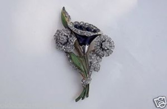 DECO ERA BIG EXOTIC ENAMELED FLOWER & RHINESTONES PIN~CORO or TRIFARI~FABULOUS