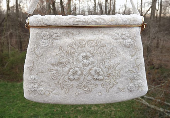 FRANCE FRENCH BEADED PURSE ALL GLASS BEADS FLORAL MOTIF EVENING BAG