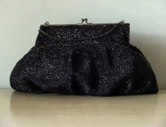 Vintage Heavily Beaded Purse BLACK GLASS BEADS Elegant Evening Bag 1940's