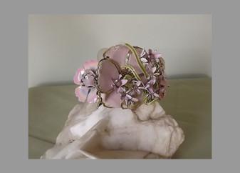 Ellen Original Lavender Pink Trailing Blossoms  Big Flower Bracelet Enameled Vintage Spring Jewelry