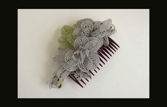 Vintage Wedding Hair Comb Hand Wired Glass Beads 3D Leaf Flower Clusters Haskell Style