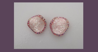 1950's Pink Plastic Earrings AB Rhinestones Marbled Frosty Pearly MOP Textured Coating