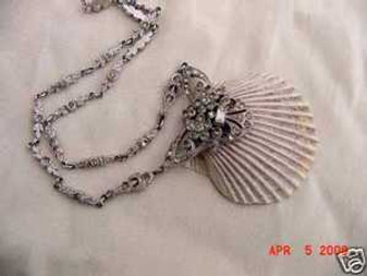 EDWARDIAN PASTE NECKLACE WITH SEASHELL DELICATE DECO QQ