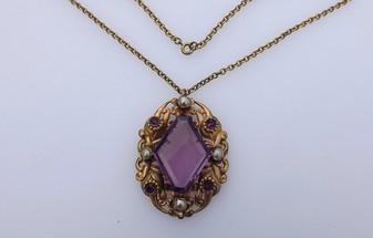 Art Deco Czech Pendant Big Purple Glass & Rhinestones, Pearls, Ornate Brass Necklace