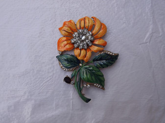 VTG HUGE1930's BIG Enameled FLOWER Pin ~Rhinestones & Enamel~Spectacular!