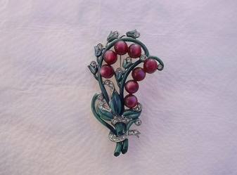 1930's BIG Enameled Pin w/ Moonglow Beads & Rhinestones~Lily of The Valley