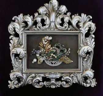 VINTAGE RHINESTONE FRAMED JEWELRY ART~Enamel FERNS & FLOWERS~ellen original