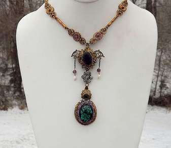 Vintage Art Deco Czech Lavalier Necklace Reverse Carved Glass Pendant Ellen Original  Design