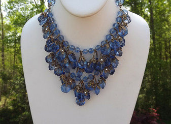 1930's Miriam Haskell Waterfall FRINGE Necklace, Blue Crystal Beads, ORNATE Caps