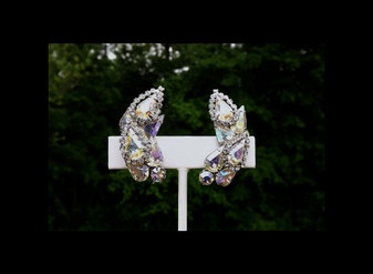 Vintage WEISS AB Rhinestone Earrings  Sparkling Wedding Christmas Holiday Jewelry Old Costume