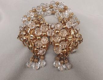 5 Strand NAPIER filigree Brass & Crystal Beads BRACELET Amos Parrish Cha Cha Dangles Old Costume Jewelry