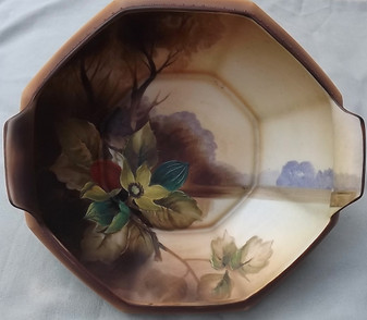 Antique Nippon Hand Painted Moriage Bowl Japanese Fruit Berries Pods Enamel Ethereal Autumn Beauty