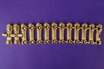 Huge Gold KJL Bracelet Greek Inspired Statement BOOK PIECE
