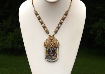 Vtg HUGE Itailian Micro Mosaic Necklace~FILIGREE BRASS METAL~Religious~ITALY