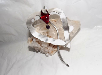 Huge Nettie Rosenstein Sterling Silver Pin EXOTIC Bloom Poured RED Glass Drop