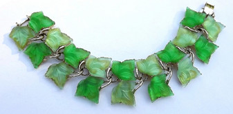Vintage Glowing Plastic Leaves Bracelet Green Springtime  Leafy Garden Beauty, Book Piece