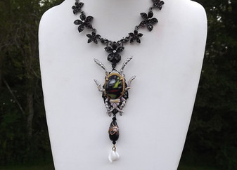 Vintage Art Deco Enamel Beetle Necklace, Art Glass, Venetian Wedding Cake, Poured Glass Beads, Halloween