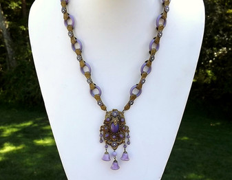 Rare Vintage Max Neiger Ornate Czech Glass & Enamel Necklace~Purple Glass Rings