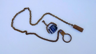 Old Jewelry Antique Victorian Spinner Watch Fob With Blue Banded Agate Stone
