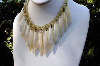 Early Miriam Haskell Double celluloid Chain Bib Necklace Long MOP Seashells Old Costume Jewelry